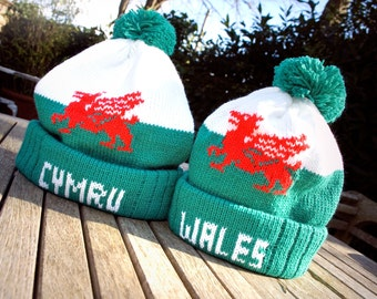 Adult Welsh Hats - Avaliable with Cymu / Wales - Handmade