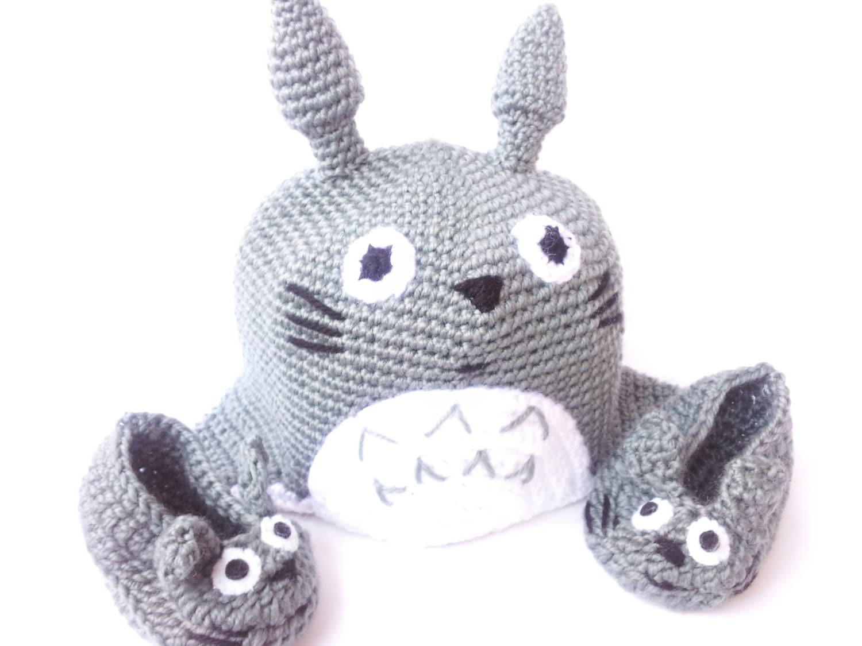 Crochet Pattern Totoro Hat : TOTORO CAP BOOTTES shoe boy girl grey crochet by Kutuleras