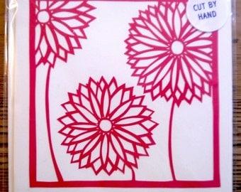 Hand-cut flowers greetings card