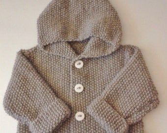 Jacket with hood sprite baby birth in 24 months knit woolen and acrylic hand with home-made buttons