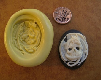 Skull and Dragon Skeleton cameo mold 40 mm x 30 mm  silicone flexible mold, resin mold, jewelry mold, polymer clay mold, fondant mold