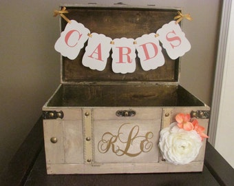 Vintage Wedding Card Box with CARDS banner,Coral and White Rustic Wedding Card Box, Vintage Trunk Wedding Box Custom Wedding Monogram A1A