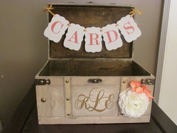 Vintage Wedding Gift Card Box : ... Wedding Card Box, Vintage Trunk Wedding Box Custom Wedding Monogram