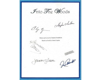 Into the Woods Script Signed Autographed Stephen Sondheim, Bernadette Peters, Joanna Gleason, Chip Zein, Tom Aldridge