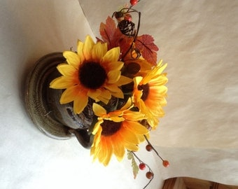 Sunflower Silk Floral, Fall Flower Arrangement, Cup and Saucer, Sunflowers, Fall Floral Decor, Fake Flowers, Thanksgiving Table Decor