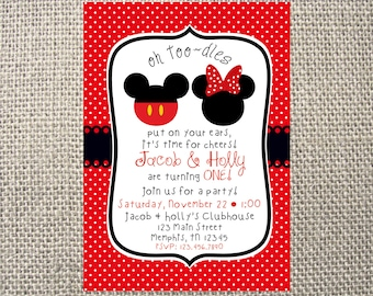 PRINTED or DIGITAL Minnie Mickey Mouse Inspired Toodles RED Dot Birthday Invitations 5x7 Customized Mouse Invites Design 0.82 each