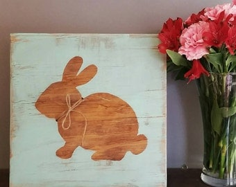 Reclaimed wood bunny silhouette sign with jute twine accent,  wooden sign, home decor, nursery decor, Easter decor, farmhouse decor