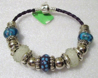 750 - Aqua & Purple Beaded Bracelet