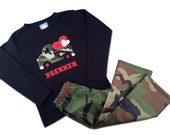 Boy's Valentine Outfit with Camo Truck Heart Shirt and Matching Camo Pants