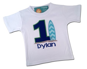 Boy's Birthday Shirt with Surf Board, Number and Embroidered Name - Blue