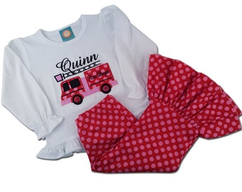 Girl's Fire Truck Outfit with Fire Truck Shirt and Pink Polka Dot Pants - F28