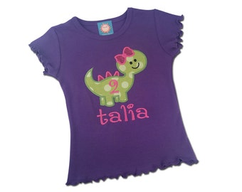 Girl Dinosaur Birthday Shirt with Number and Name