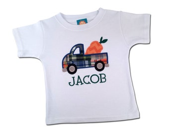 Boy's Easter Shirt with Easter Carrot Truck and Name - M34