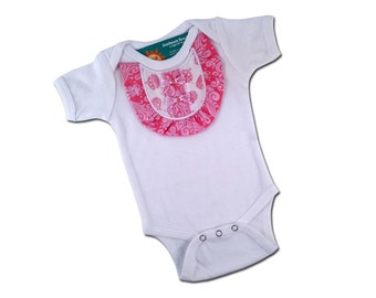 Baby Girl Bib Placket Pink Damask Bib Bodysuit