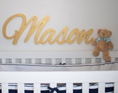"""Extra large Wooden name sign metallic silver or gold 11 - 12 """" letters Name Plaque PAINTED nursery name nursery decor wall art, above a crib"""