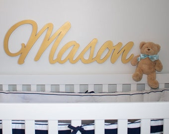gold wooden name sign metallic silver or gold 11 12 letters name plaque painted nursery name nursery decor wall art above a crib
