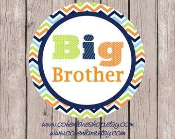 Instant Download Printable Big Brother Tshirt Transfer Design. Chevron Big Brother Iron On.  Big Borther Shirt.  Iron on Transfer.