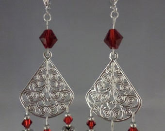 Red Dangle Earrings - Dangle Earrings - Crystal Earrings - Chandelier - Red Crystal Chandelier Earrings (Item # 1575)