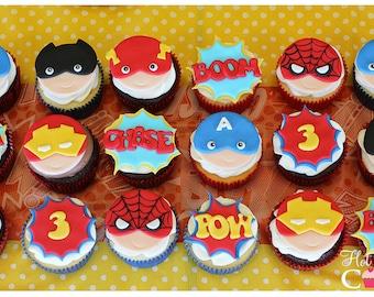 12 Super Hero Cupcake Fondant Toppers