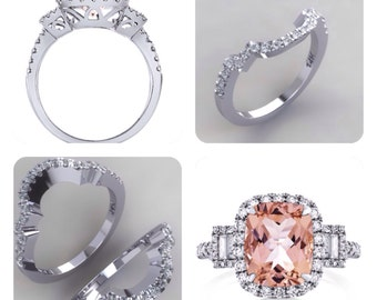 Morganite Engagement Ring Set Diamond Wedding Bands 18kt White Gold Diamond Halo 3 Stone Anniversary Ring Wedding Set Pristine Custom Rings