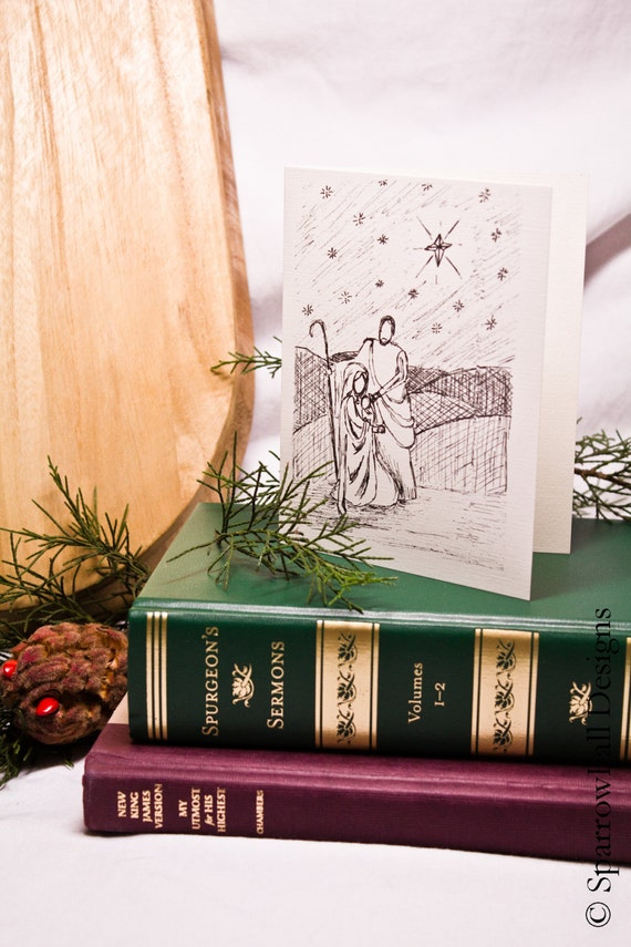 Set of Six Nativity Card Set -  Winter/Christmas Note Card - Blank Linen Paper Note Cards with Linen Envelopes