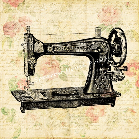 Items similar to vintage print sewing machine wall art for Best home decor sewing machine