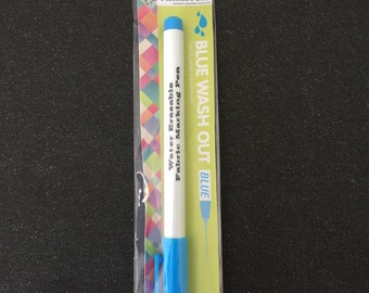 Blue washout fabric pen