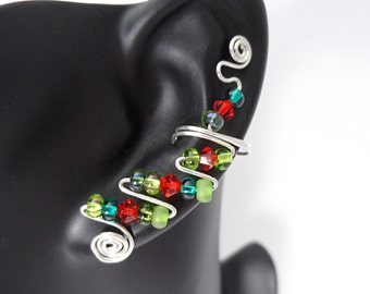 Ear Cuffs with Red, a Blue and Green Crystals, pair, made with Sterling Silver and crystals from Swarovski and the Czech Republic