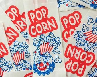 Clown Popcorn Bags, 25 Circus Carnival Party Bags