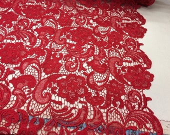 Red guipure flowers embroider lace. Sold by the yard.36x45inches.
