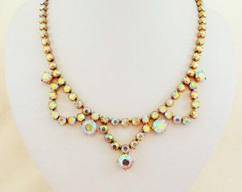 Aurora Borealis Rhinestone Vintage Swag Necklace