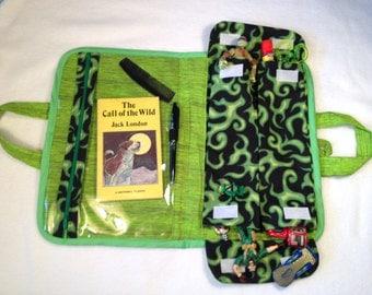 Stylish green organizer, kids art case,child activity bag, art tote, travel organizer
