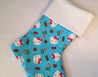Cat Christmas stocking, Christmas cat stocking, girls stocking, kitty cat stocking, girls cat stocking, animal stocking,