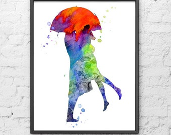 Love Art Print, Watercolor Umbrella Painting, Kiss Painting, Couple Art, Wall Art Home Decor - 384