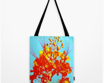 Tote Bag Mexican Bird Of Paradise Orange Flower Blue Sky Texas Art Bag