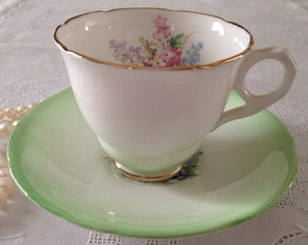 Green Royal Stafford China Tea Cup and Saucer