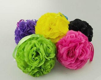 Silk Flower Kissing Balls Centerpiece, 6-Inch