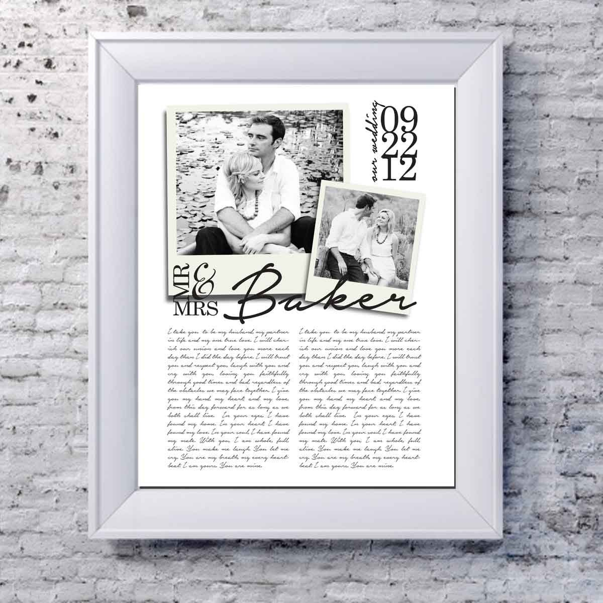 Personalized Wedding Vows: Unique Wedding Gift Custom Wedding Vows Print With Photos