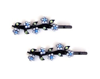 Crystal Flower Bobby Pin PAIR Hair Clip Accessory Black Tone Blue