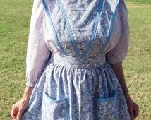 Quaker apron, pioneer apron, hand sewn, full apron, long vintage style apron, full skirt, plus size apron, costume apron, shabby chic apron