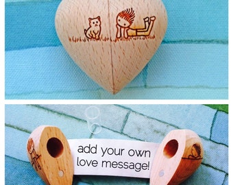 Wooden Heart with Secret Compartment and Scroll-Cat Design