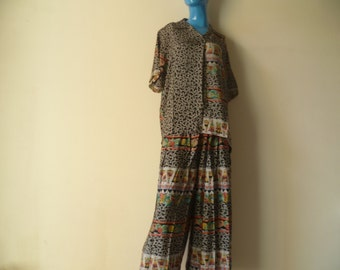 Vintage New 1980's Zero Orez Blouse and Pants/ Made in India/ Two Piece Set