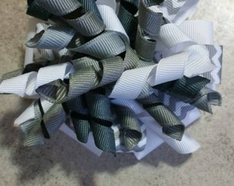 Gray and White Chevron Corker Hair Bow