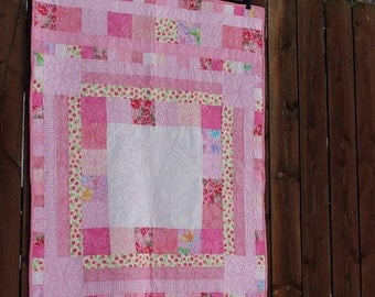 Pink Crib Quilt, Angel quilt