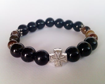 Black Onyx * Brown Agate Mens Beaded Bracelet, Mens Beaded Bracelet, Cross Bracelet Men, Onyx * Agate Men's Jewelry, Mala Beads Bracelet