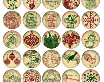 1x1 inch vintage Christmas circles. Digital download