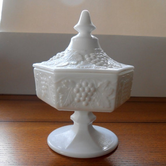 Imperial Milk Glass Candy Compote Dish With Lid 6 Side Panels with Grape Design And Pedestal Base