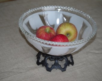 Fruit Bowl - Repurposed Glass Ceiling Light Cover with Metal Base