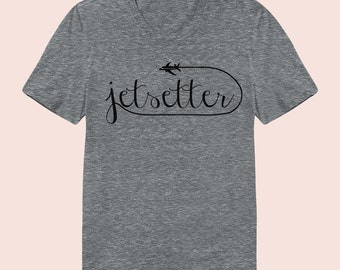 Jetsetter -  Women's Slim Fit TShirt, Graphic Tee, American Apparel, Short Sleeve Shirt, T Shirt
