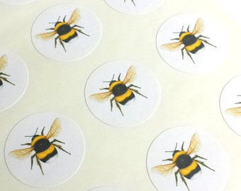 "1"" Round - 12 White Envelope Seals/Stickers - Bee (Color) for Wedding Envelope Invitations Decoration, Wedding Favor, Planner or Scrapbook"